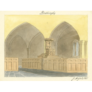 Watercolour by John Hassell of interior of church with box pews and three decker pulpit
