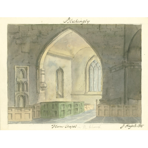 Watercolour by John Hassell of Ham chapel [north transept] in church