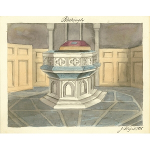 Watercolour by John Hassell of font in church