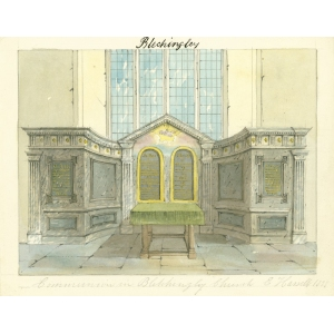 Watercolour by Edward Hassell of 'communion' [table] and reredos in church