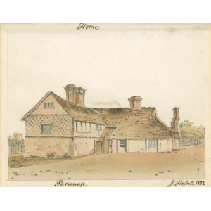 Watercolour painting of Horne parsonage, signed 'J Hassell 1822'