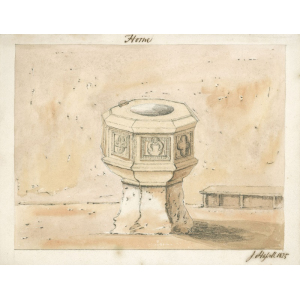 Watercolour painting of the font in Horne church, signed 'J Hassell 1825'