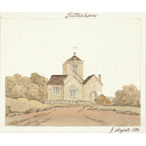 Puttenham church, exterior view from east. Watercolour by John Hassell
