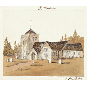 Puttenham church, exterior view from south east including porch; with churchyard in foreground. Watercolour by John Hassell