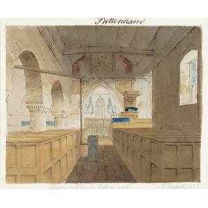 'Puttenham Church looking east', interior view, looking east from back of church through to east window. Watercolour by Edward Hassell
