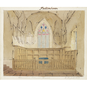 'Communion Puttenham Church', interior view showing Communion rails and altar and east window. Watercolour by Edward Hassell