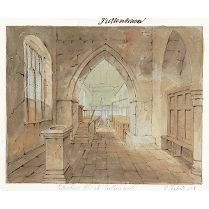 'Puttenham Church looking west', interior view, with font in foreground to left and a balcony at the back of the church. Watercolour by Edward Hassell