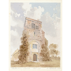 'Puttenham Church west end', [from south], exterior view. Watercolour by Edward Hassell