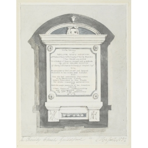 Pencil and watercolour drawing of a memorial to Mellor Mary Weston in Holy Trinity Church, Guildford