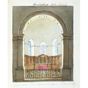 Ink and watercolour drawing of the interior of Holy Trinity Church, Guildford