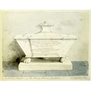 Pencil and watercolour drawing of a memorial to Elizabeth Lawson in Holy Trinity Church, Guildford