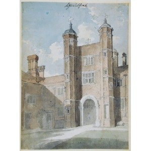 Watercolour of the gatehouse of [Abbot's] Hospital, Guildford