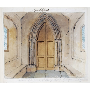 Ink and watercolour drawing of the interior of the porch, St Mary's Church, Guildford