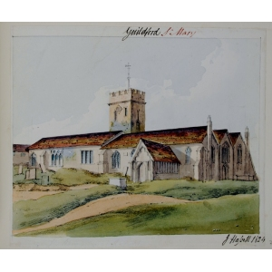 Watercolour of St Mary's Church, Guildford