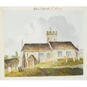 Ink and watercolour drawing of the exterior of St Mary's Church, Guildford