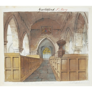 Ink and watercolour drawing of the interior of St Mary's Church, Guildford, looking east