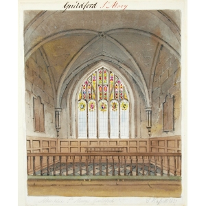 Ink and watercolour drawing of the altar and east window of St Mary's Church, Guildford