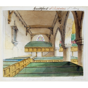 Ink and watercolour drawing of the south aisle of St Mary's Church, Guildford