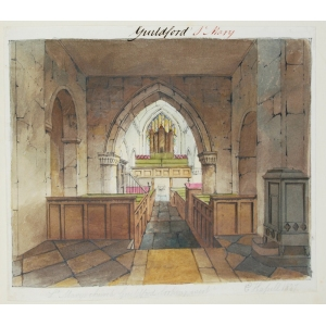 Ink and watercolour drawing of the interior of St Mary's Church, Guildford, looking west