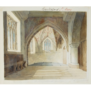 Ink and watercolour drawing of the vestry, St Mary's Church, Guildford
