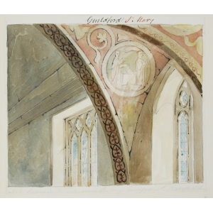 Ink and watercolour drawing of frescoes in the ceiling of the vestry, St Mary's Church, Guildford