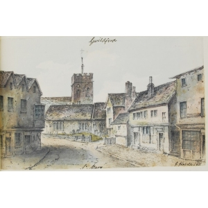 Pencil and watercolour drawing of St Mary's Church, Guildford, and houses in street in foreground