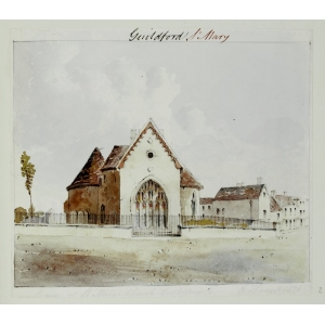 Pencil and watercolour drawing of the exterior of the east end of St Mary's Church, Guildford