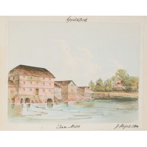 Watercolour of Town Mills, Guildford