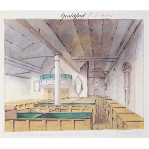 Ink and watercolour drawing of the interior of St Nicholas Church, Guildford, looking west
