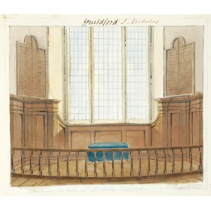 Ink and watercolour drawing of the communion table, St Nicholas Church, Guildford
