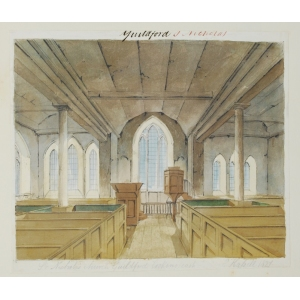 Ink and watercolour drawing of the interior of St Nicholas Church, Guildford, looking east