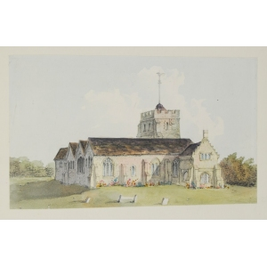 Watercolour of the exterior of St Nicholas Church, Guildford