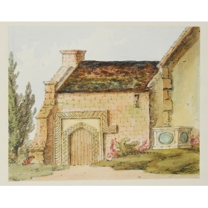 Watercolour of the 'South Entrance to old North Porch', St Nicholas Church, Guildford