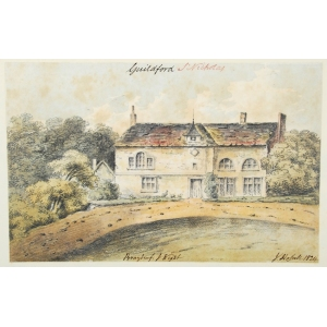 Watercolour of 'Bray Beef [Braboeuf] House', near Guildford