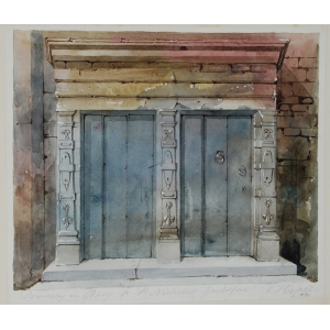 Watercolour of a doorway, St Nicholas Church, Guildford