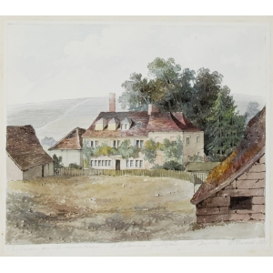 Watercolour, 'Pickards, an old manor house, St Catherines [sic] Guildford, Mr Drewitts'