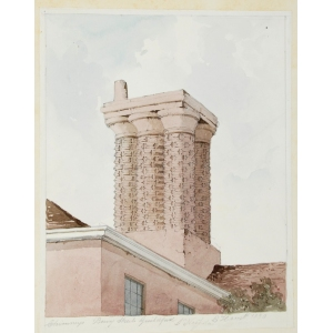 Watercolour of chimneys in Bury Street, Guildford