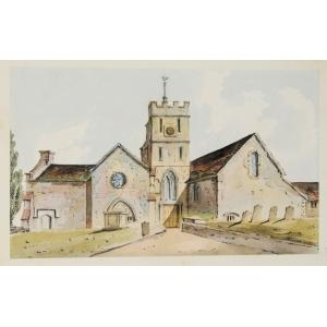 Watercolour of St Nicholas Church, Guildford