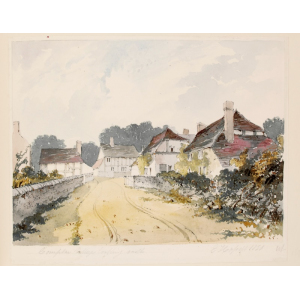Watercolour of Compton village looking north