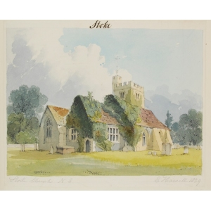 Watercolour of the NE view of Stoke Church