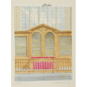 Pencil and watercolour drawing of the interior of Stoke Church