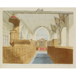 Pencil and watercolour drawing of the interior of Stoke Church, looking east