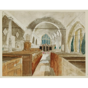 Pencil and watercolour sketch of the interior of Stoke Church, looking east