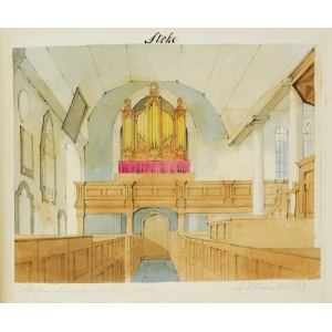 Pencil and watercolour drawing of the interior of Stoke Church, looking west