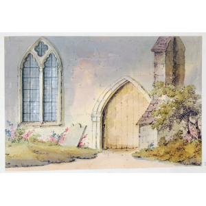 Pencil and watercolour drawing of Albury Church
