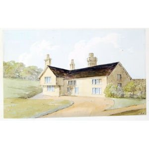 Pencil and watercolour drawing of Albury Parsonage