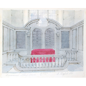 Ink and watercolour drawing of the communion table, Albury Church