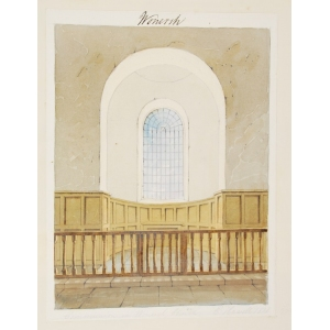 Pencil and watercolour drawing of the communion table in Wonersh Church