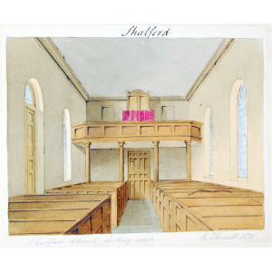 Pencil and watercolour drawing of the interior of Shalford Church looking west