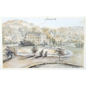 Pencil and watercolour drawing of Shalford House